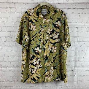 Green Hawaiian Shirt w/Flowers & Palm Leaves